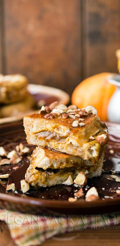 Pumpkin Cream Cheese-Stuffed French Toast - Vegan Yack Attack