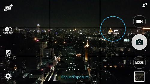การแตะบนหน้าจอค้างไว้ จะเป็นการบอกให้ Samsung Galaxy Note 4 ปรับชดเชยแสง โดยพิจารณาวัดแสงจากจุดที่แตะค้างนั้น