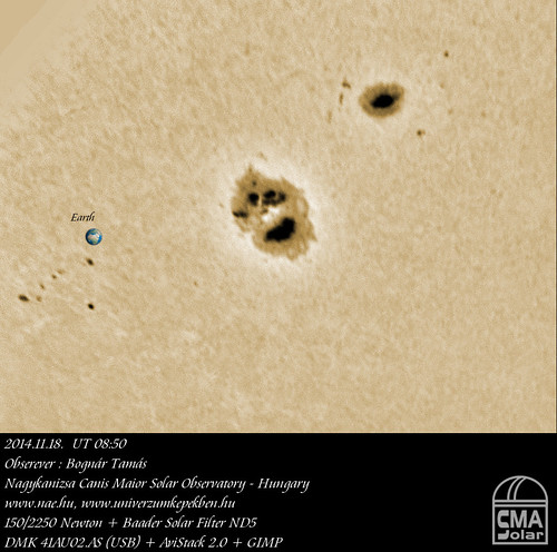 White light Sun - 2014.11.18. UT 08:55 - AR 2209, AR 2213 - Bognár Tamás