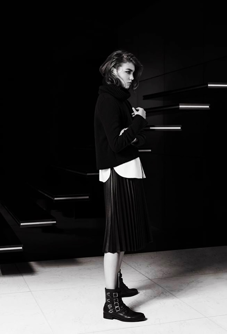 midi and pleated skirt fashion editorial