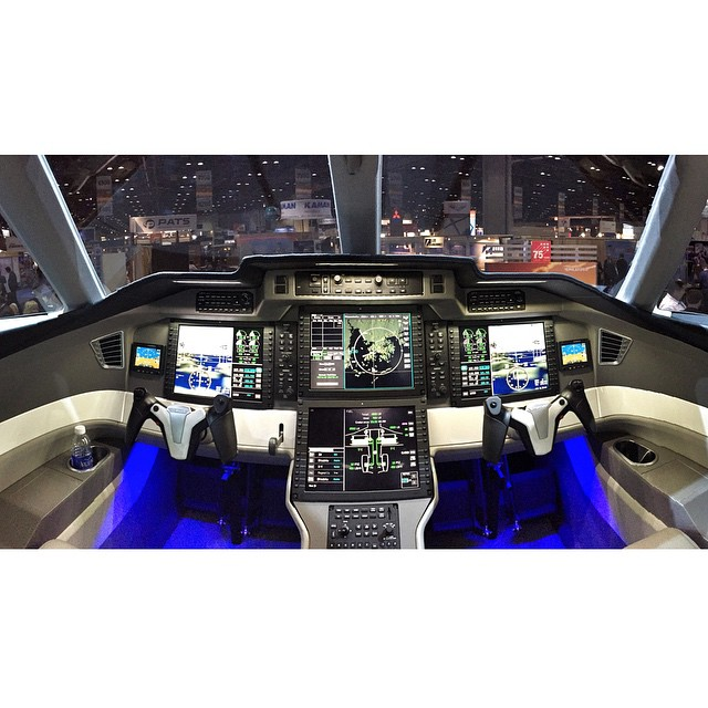 Flight deck of the Pilatus PC-24, on mockup display at #NBAA14