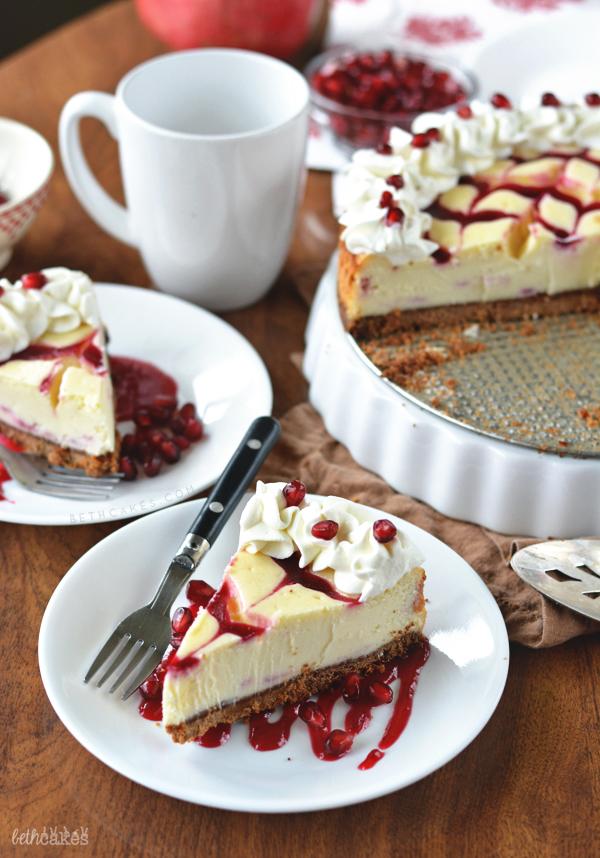 Cranberry-Pomegranate Swirled White Chocolate Cheesecake! bethcakes.com