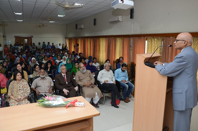 Mr. Ishrat Aziz delivering lecture on Need for Look West Policy at AMU.