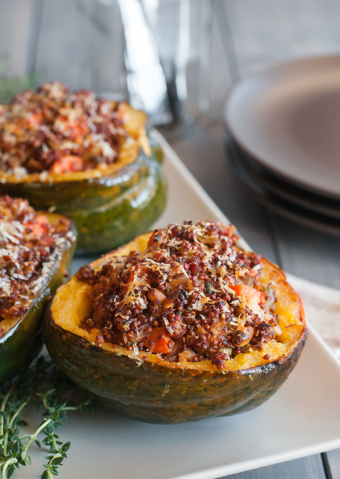 Rustic quinoa stuffed acorn squash - for almost any special diet   #homemade #healthy #comfortfood