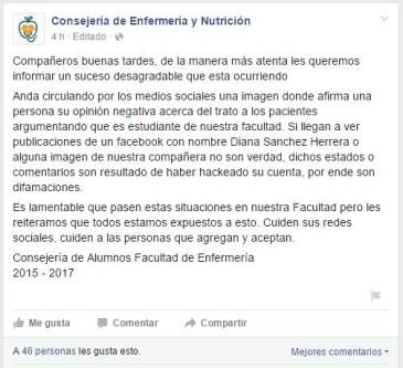 Niega Consejería de Facultad de Enfermería supuestos mensajes negativos de pasante de su carrera