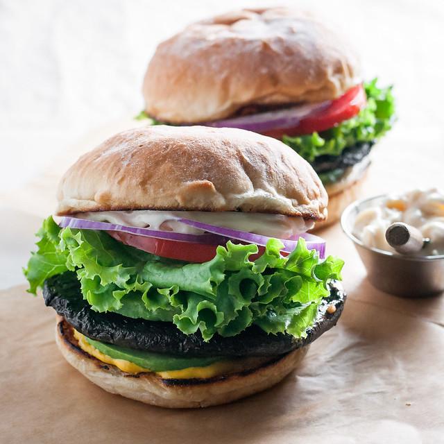 California veggie burger with portobellos marinated in wine!