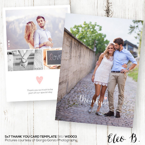 5x7 Wedding Thank You Card - Photoshop Template for Photographers - WD003 - INSTANT DOWNLOAD