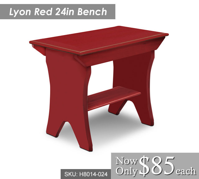 Lyon 24in Red Bench