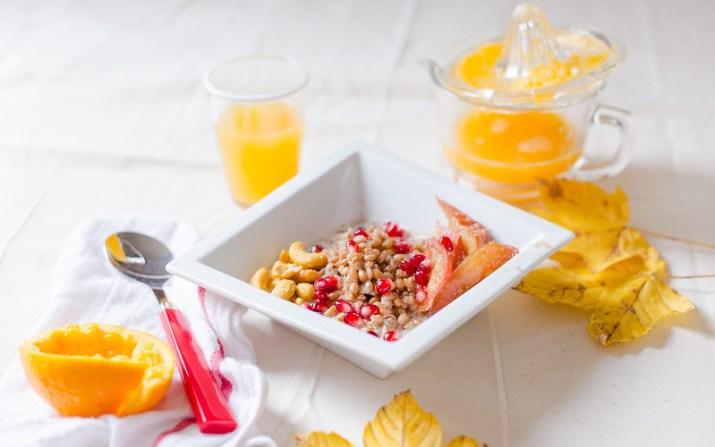 Breakfast Farro with Roasted Apple