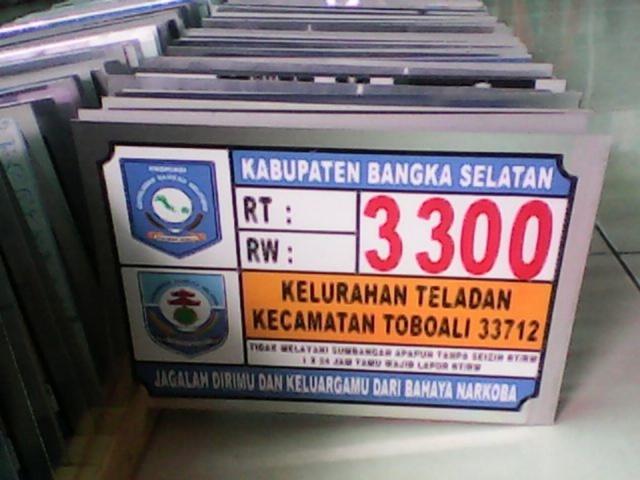 Plat Nomor Rumah Bangka Belitung