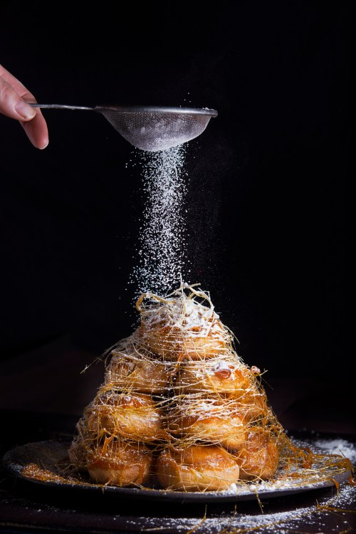croquembouche with lime and ginger curd