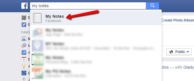 Create Facebook Note Step 1