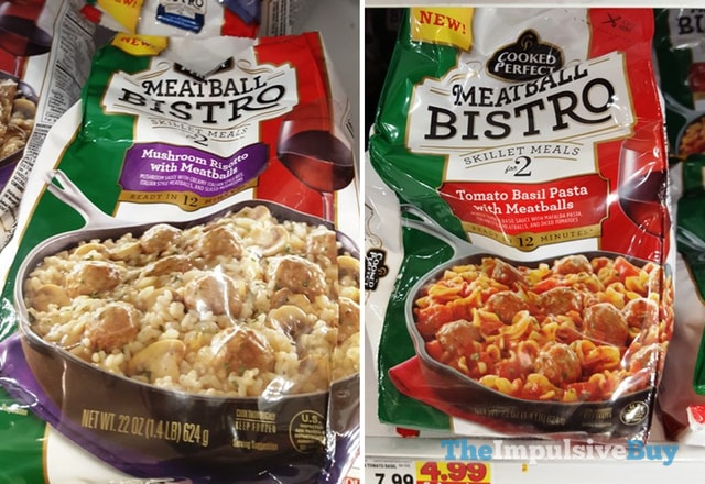 Cooked Perfect Meatball Bistro Skillet Meals (Mushroom Risotto and Tomato Basil Pasta)