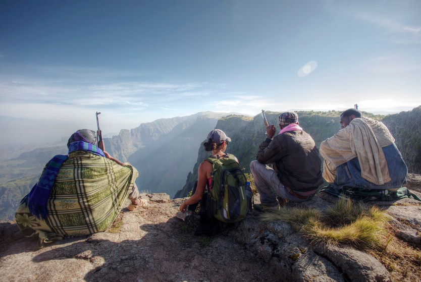Heather with our rangers in the Simien Mountains.