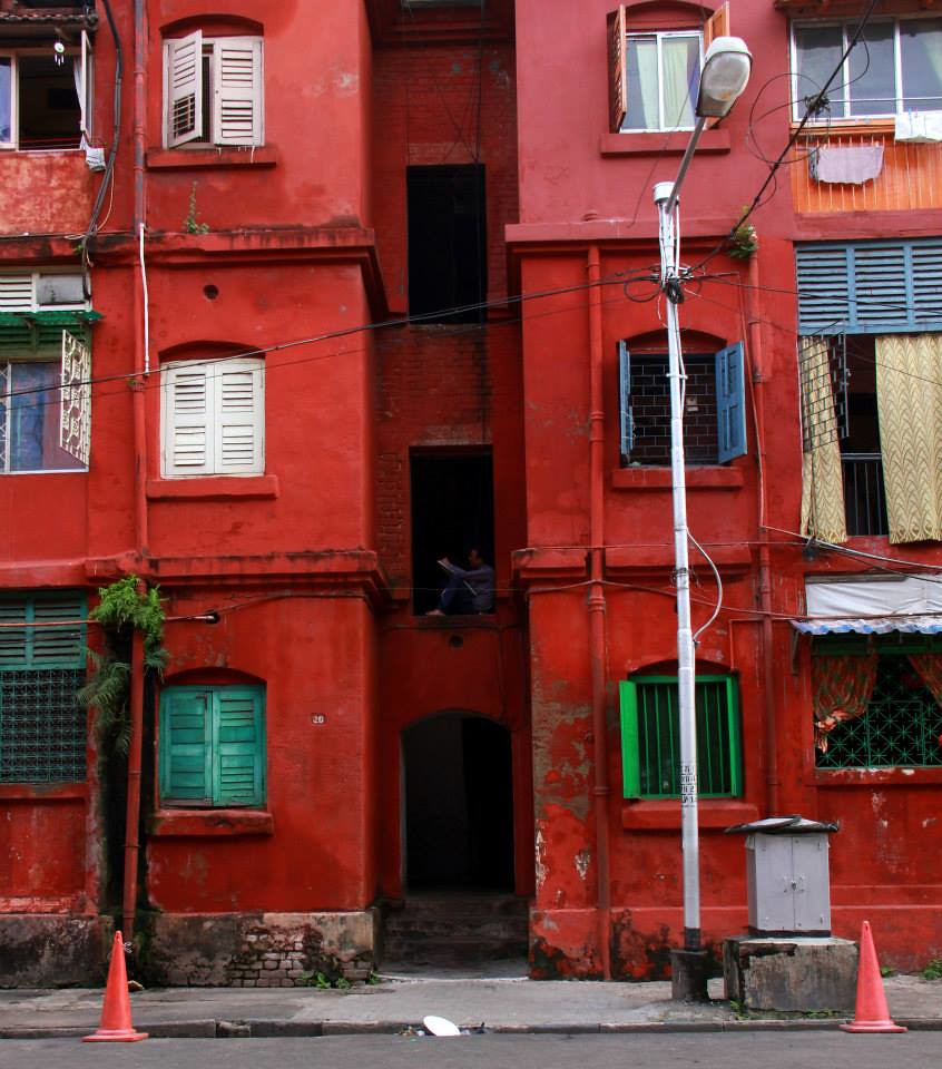 bow barracks in red in kolkata