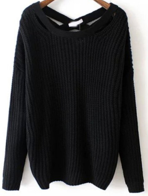Winter is Coming: SheIn's Black Crisscross Back Sweater