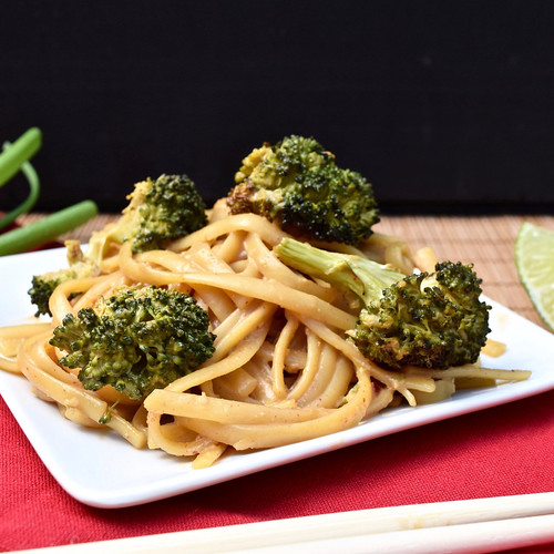 peanut-lime noodles with roasted broccoli