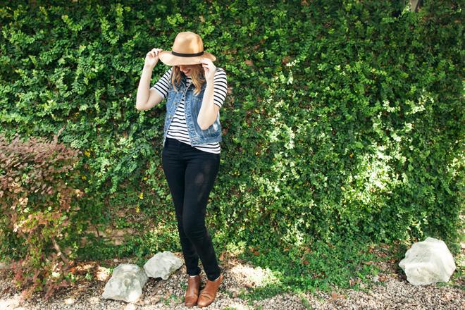striped shirt denim vest8