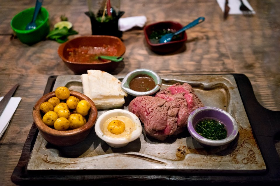 Lomo al Trapo (330 Grams): Charcoal-grilled beef tenderloin at Andres Carne de Res, Bogota, Colombia