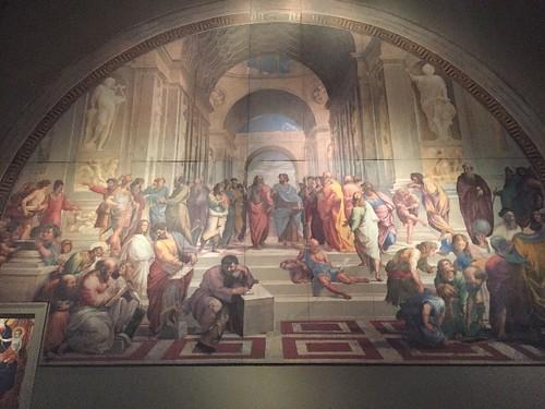 ラファエロ作のアテネの学堂ですよ!