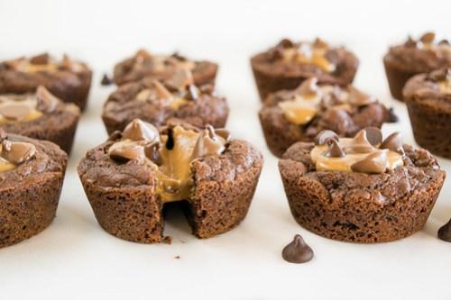 gooey peanut butter-filled brownies
