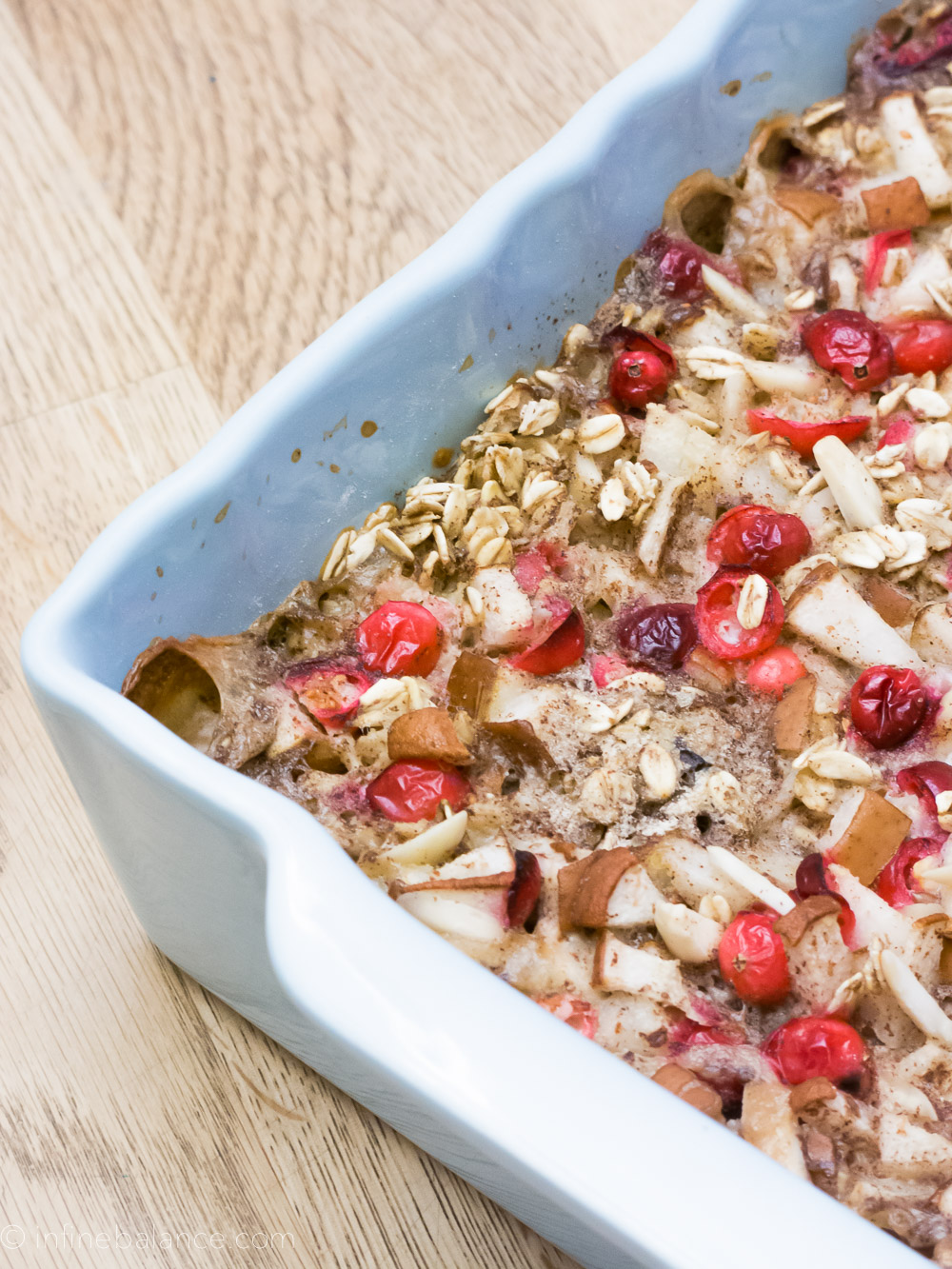 Cranberry and Pear Baked Oatmeal | infinebalance.com #recipe #breakfast