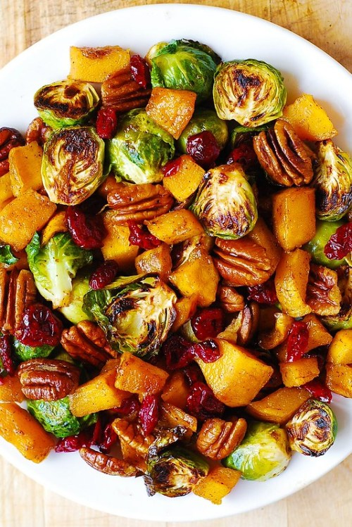Thanksgiving Side Dishes Roasted Brussels Sprouts with Cinnamon Butternut Squash Pecans and Cranberries