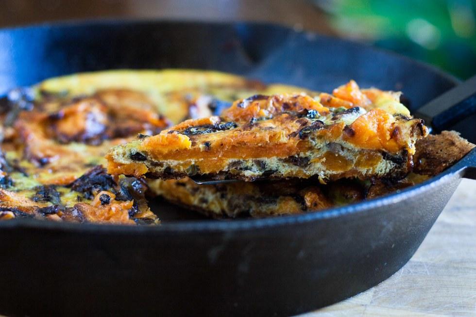 serving sweet potato frittata