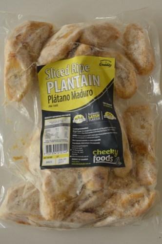 Frozen sliced ripe plantain
