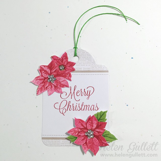 Merry Christmas Poinsettia Tag #heroarts #myheromonthlykit #poinsettia #tag #christmastag #gifttag #creatingjoyfully #stamping