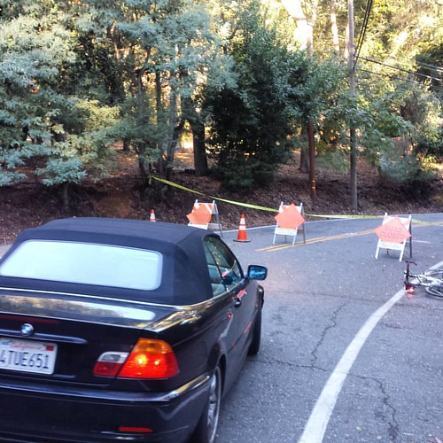 Old Santa Cruz Hwy. This is highly inconvenient. There's not exactly an alternate route from here. #cycling