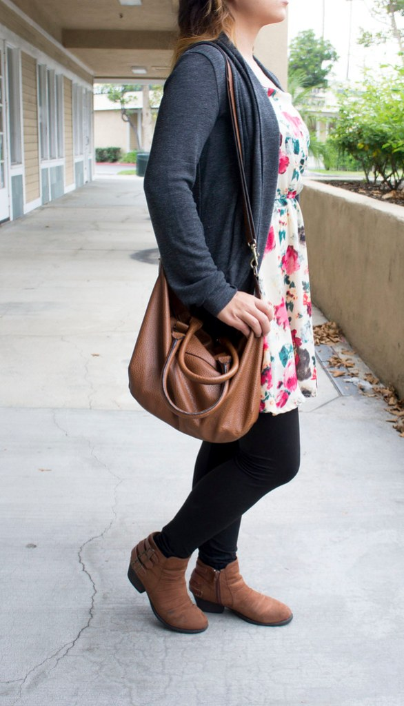 Floral Dress and Suede Boots Outfit