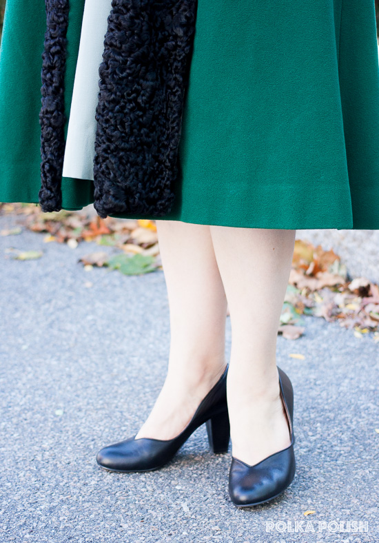 Royal Vintage Shoes Marilyn pumps paired with a true vintage coat and skirt