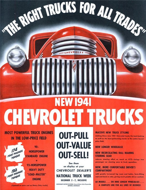 1941 Chevrolet Trucks - published in The Saturday Evening Post - December 7, 1940