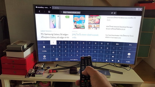 การท่องเว็บบน Samsung SUHD TV แม้จะเป็นรีโมทธรรมดา ก็ยังทำได้ แต่ต้องขยันกดปุ่มหน่อย