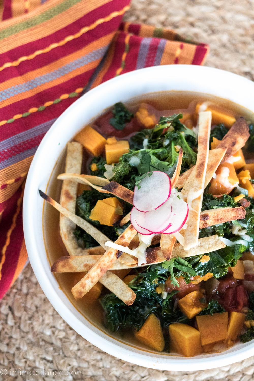 Sweet Potato and Kale Tortilla Soup | infinebalance.com #recipe #vegetarian