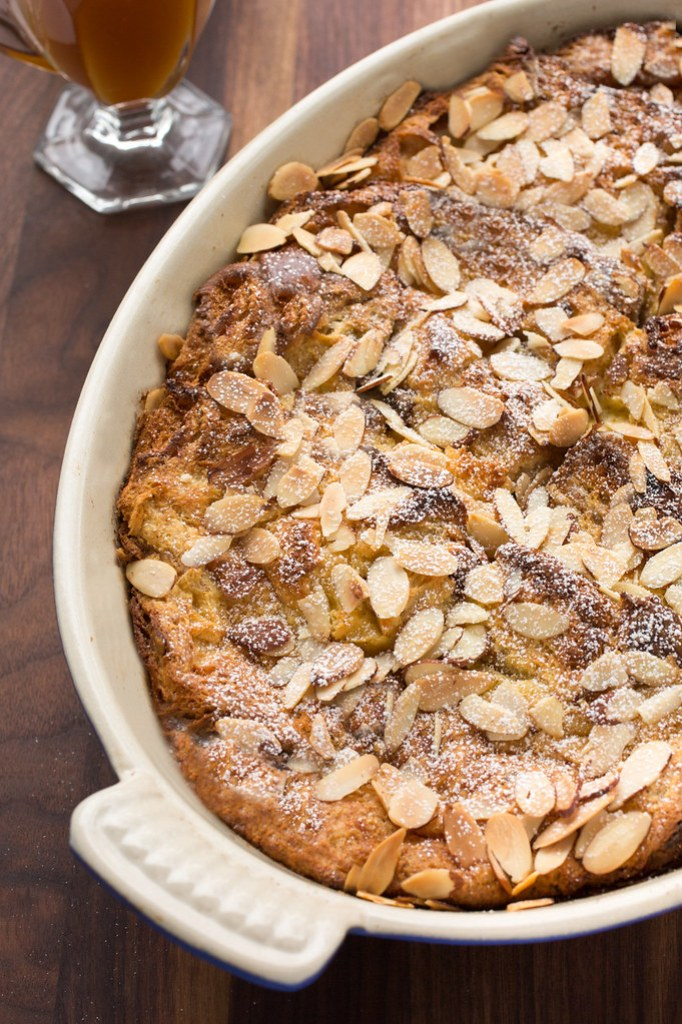 baked panettone french toast in pan