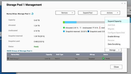 ที่ Storage Management ให้คลิกเลือก Expand capacity