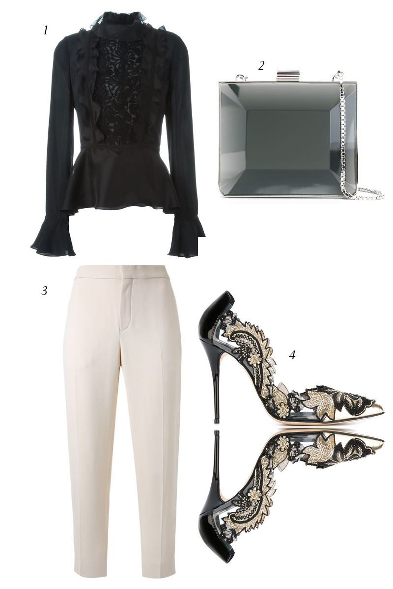 black-top-chloe-cream-pants-pumps-lucite-clutch-bag-3