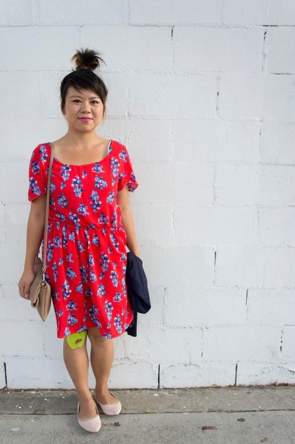 DIY Red Scoop Neck Dress