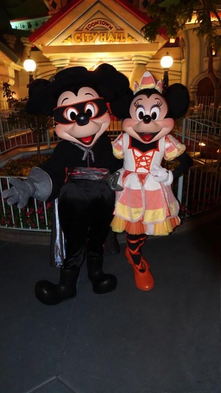 Zorro Mickey and Candy Corn Minnie at Disneyland Halloween Party