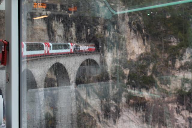 Landwasser Viaduct on Glacier Express to St Moritz Switzerland on rainy day