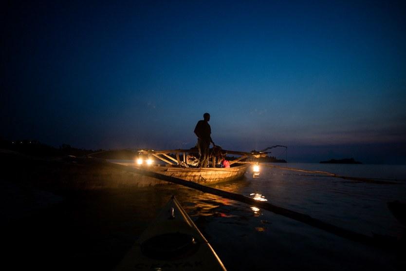 Night Fishermen on Lake Kivu.