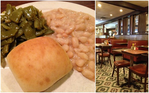 Northern Beans, Green Beans, Roll at Sarris Restaurant, Birmingham AL