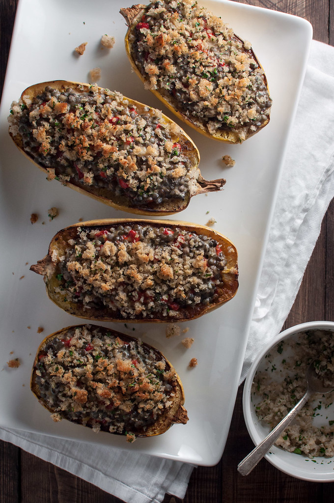 Lentils and cheese in spaghetti squash with herbed breadcrumbs