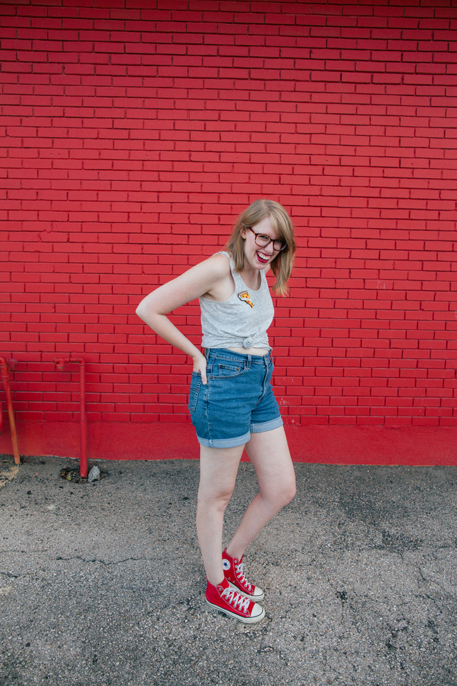 pizza pin high-waisted shorts4
