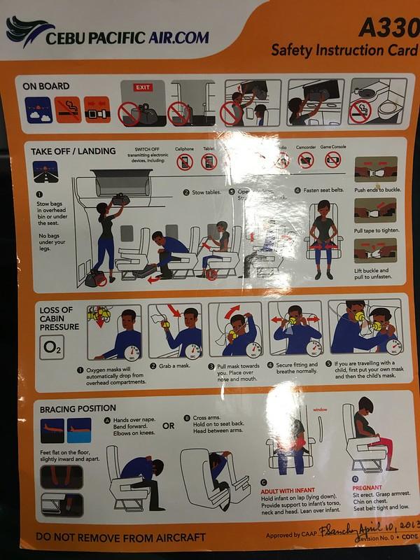 Cebu Pacific A330 Safety Instruction Card