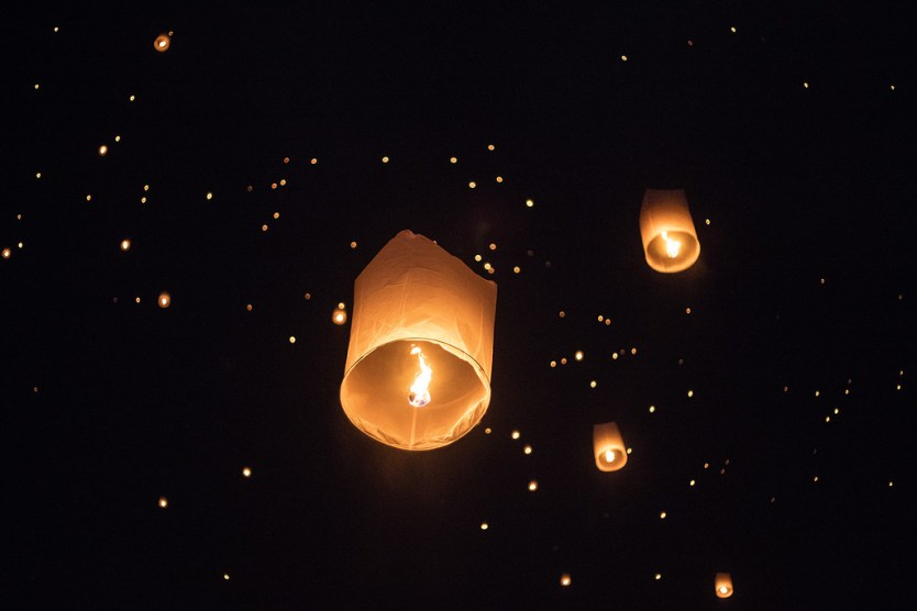 Lanterns being released for Yi Peng, Thailand.