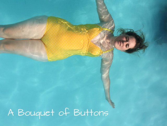 Abigial swimsuit by Ohhh Lulu made in yellow polka dot fabric by A Bouquet of Buttons