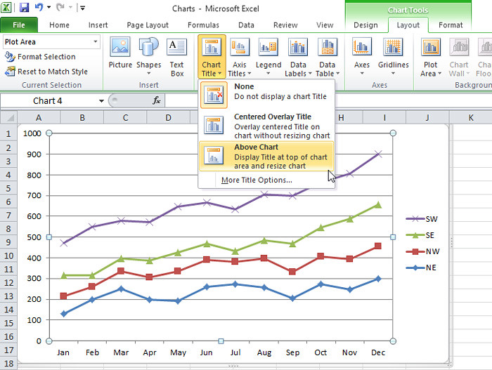 excel chart - add title